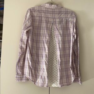 Anthropologie lilac plaid top with lace back
